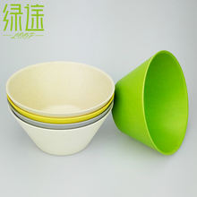 China Dishes and Plate Bamboo Powder Kitchen White Green Tableware Set Reusable Dishes and Plate Soup Fruit Bowl Salad Bowls(China)