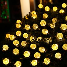 HOT 30 LED lederTEK Solar Outdoor String Lights 20ft 30 LED Warm White Crystal Ball Solar Powered Globe Fairy Lights for outdoor(China)