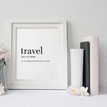Travel Definition Quote Canvas Painting Minimalist Black White Word Poster Print Nordic Wall Art Picture Living Room Home Decor(China)