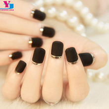 24Pcs/Set False Nails Matte Black Slver Metallic French Fake Nails Full Cover Short Faux Onlges High Quality Nail Tips Free Glue
