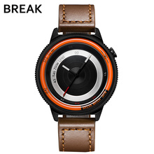 BREAK photographer luxury brand men lover's brown leather strap fashion sport casual waterproof quartz watches gift for women(China)
