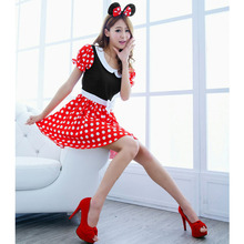 2017 New Fashion Sexy Christmas Minnie Mouse Wave Point Women Xmas Costume Cosplay Hot Sell Dress Up Outfit Ear Girl Sex Lady LB