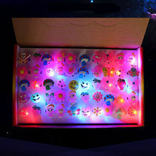 50pcs/Set Lovely Led Flashing Ring Light Lamp Finger Lights Soft Rubber Flash Ring Children's Toys Gifts Party DIY Decoration(China)