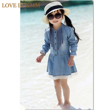 2017 New Summer Dress Girl Children's Clothing Casual Princess Costume Kids Cotton Thin Denim Long-sleeve Lace Dresses(China)