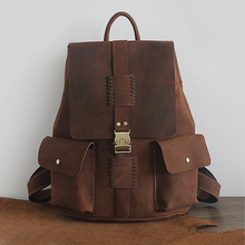 hand made vintage crazy horse genuine leather backpacks men and women shoulder bag handmade first layer cowhide backpack