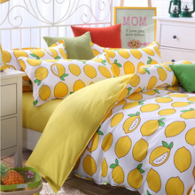 Hot Sale 4PCS Fruit Orange Bedding-set Cotton Bedding Set King Size Bed Sets Sheets Pillow Duvet Cover No Comforter