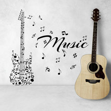 Musical Series Art Wall Decal Music Notes Made Up Guitar Pattern Special Designed Wall Stickers Vinyl Wallpaper Art Decor WM-272