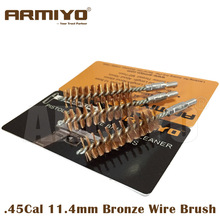 Armiyo .44Cal .45Cal 11.4mm Hunting Gun Bronze Wire Brush Cleaner Pistol Bore Barrel Cleaning Brush Screw Thread Size 8-32(China)