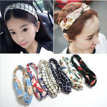 M MISM Girls Fashion Chiffon Turban Headband For Women High Quality Plaid Flower Pattern Hair Bands Floral Elastic Headwear(China)