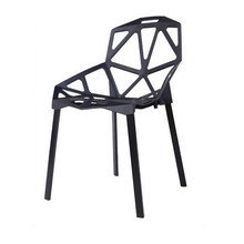 European and American plastic chairs. The geometric pattern of hollow plastic chairs, dining room furniture.(China)