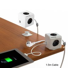 Allocacoc Extended PowerCube Socket DE Plug 4 Outlets Dual USB Adapter with 1.5m Cable Extension Adapter Multi Switched Socket