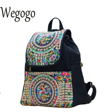 Wegogo Women Backpack Embroidery Canvas Girls Vintage School Bags Unique Ethinic Travel Rucksack Shoulder Bags National Mochila