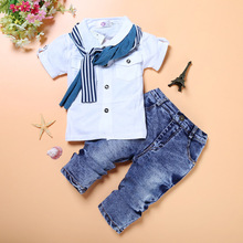 Fashion Baby Boy 3-Pieces Clothes Sets Children Shirt + Jean + Scarf Suit Boys Outfits Kids Clothing Casual Infant Clothing Pant(China)