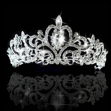 Wedding Bridal Crystal Tiaras Crowns Princess Queen Pageant Luxury Rhinestone Veil Tiara Headband Wedding Hair Accessories