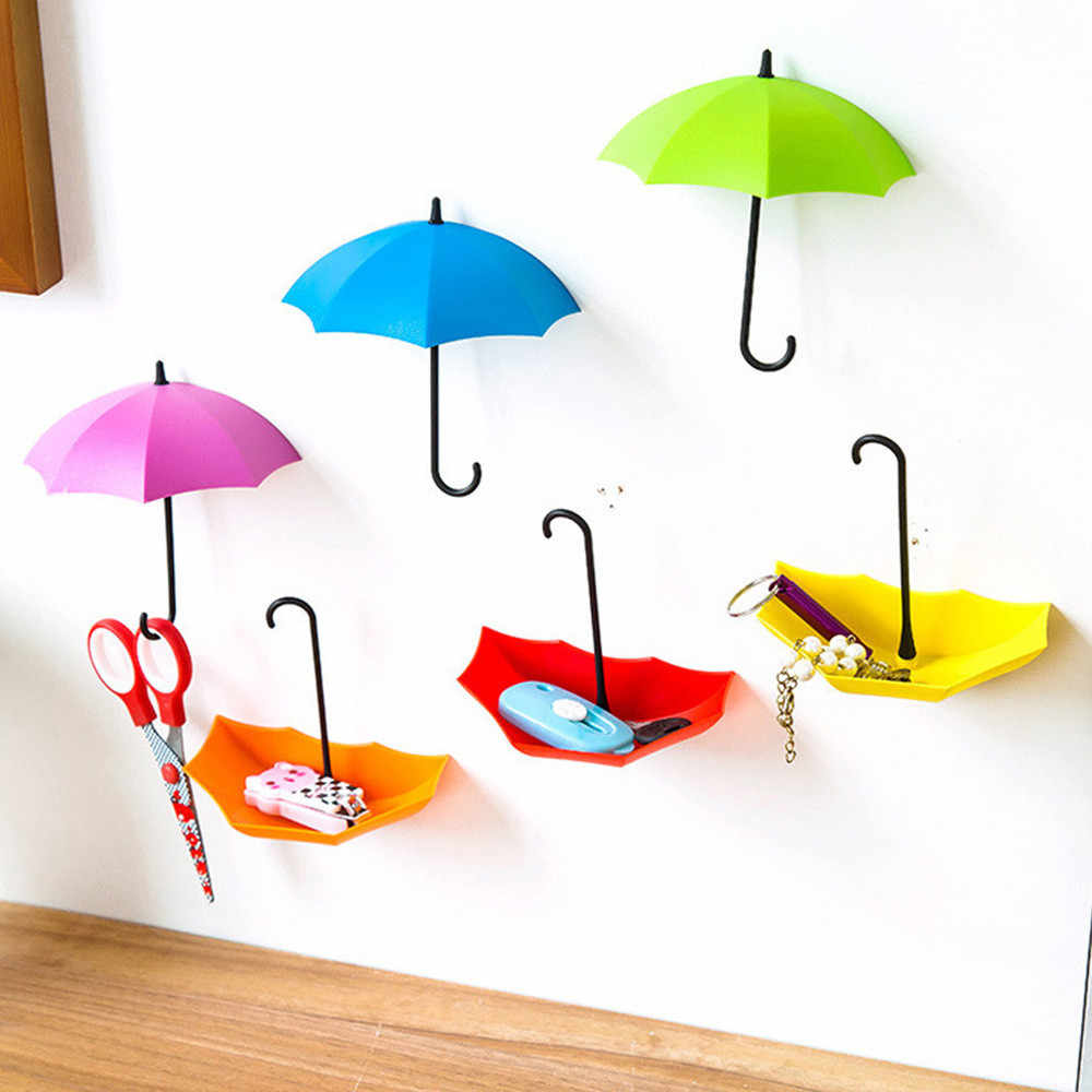 6pcs/set Cute Umbrella Wall Mount Key Holder Wall Hook Hanger Organizer Durable Umbrella Wall Hook Wall Hooks Bathroom Key