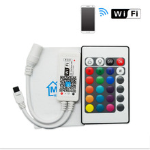 DC12V RGB RGBW Wifi LED Controller android /IOS Mini + IR 24Key Remote control for SMD 5050 LED Strip Light Via Smartphone