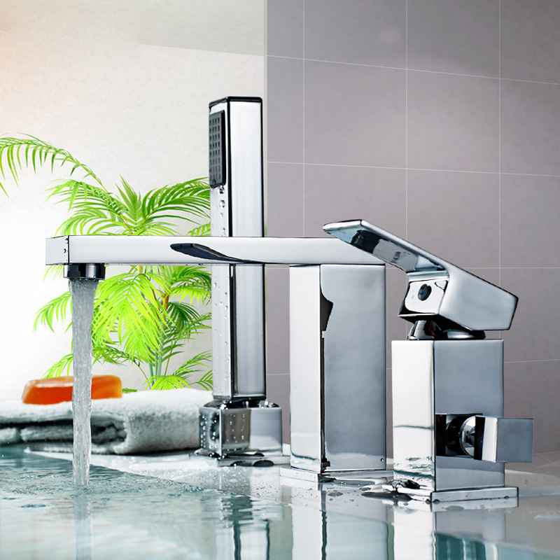 Chrome Finished Bathroom Widespread Bathtub Faucet Deck Mount Bath Tub Mixer Tap with Hand Shower<br><br>Aliexpress