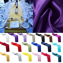 5pcs 30cm*275cm Satin Table Runners Wedding Party Event Decor Supply Satin Fabric Chair Sash Bow Table Cover Tablecloth(China)