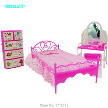 Plastic Miniatures Bedroom Furniture Bed Pillow Dresser Table Chair Cabinet Accessories For Barbie Doll House BJD FR Kids Gift