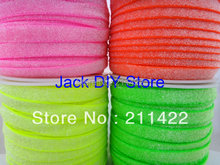 "4rolls 50yards/roll 3/8"" Frosted Neon yellow  Neon Green Neon Pink Neon Orange Glitter Elastic Hair Accessories DHLFree Shipping"