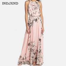 Buy 2017 Womens Chiffon Dress O Neck Vestidos Printed Floral Roupas Feminina Maxi Dress Elegant Woman Summer Boho Party Dresses S193 for $9.65 in AliExpress store
