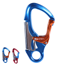 Xinda Komoku hook Outdoor climbing exploration aerial safety hook Fire rescue security lock Two stages Automatic K lock(China)