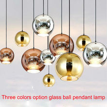 North Europe Modern Copper Sliver gold Shade Mirror hanging Light E27 Bulb LED Pendant Lamp Christmas Glass Ball Lighting(China)