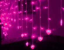 Heart-shaped LED fairy string curtain Lights 2.5M*1.5M 124Leds Valentine Xmas Christmas Wedding party garland decoration-PINK