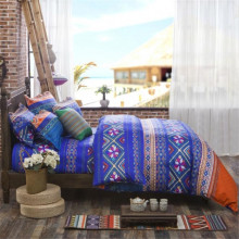 UNIKEA Sicilian Geometric Bedding Set ( Duvet Cover + Bedsheet + Pillowcase) Twin Full Queen King Size Blue and Orange Boho Bedc