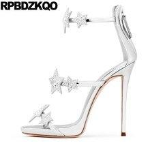 Designer Shoes Women Luxury 2018 Stiletto High Heel Pumps Rhinestone  Sandals Ankle Strap Silver Plus Size Rose Gold Crystal Star dca1f6252459