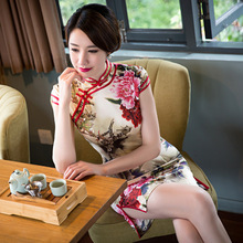 2017 New Qipao Chinese Dress Robe De Soiree Courte Hangzhou Real Fashion Wholesale Short Cheongsam Dress On Behalf Of A Stamp