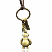 Hot Film Big Hero Robot Warm Man Baymax Jewelry Leather & Bronze Alloy Hook Pendants Necklace for Women Guys Watchmen Gift(China)
