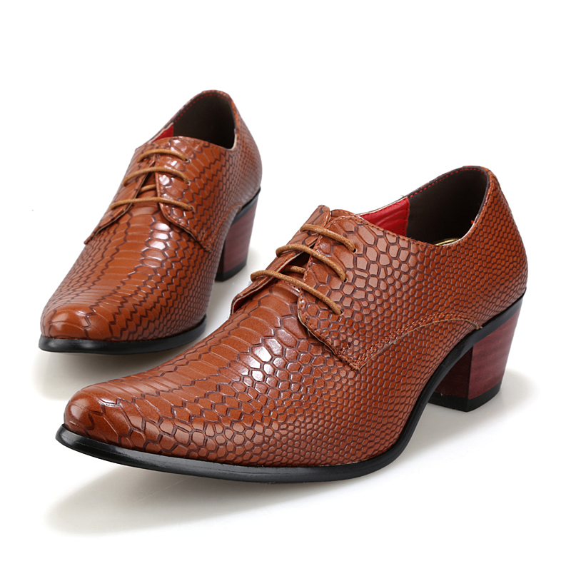 height increasing snake skin men shoes luxury brand italian formal leather male footwear pointed toe brogue oxford shoes for men (7)