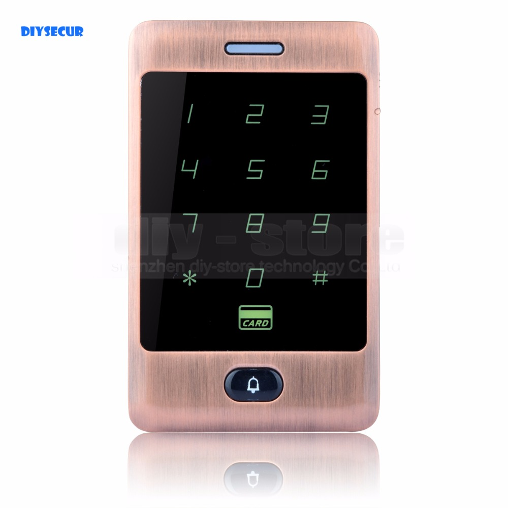 DIYSECUR 125KHz RFID Card Reader Touch Panel Backlight Metal Case Password Keypad For Access Control System C30<br>