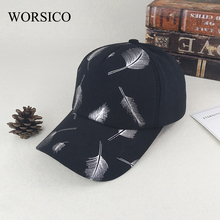 [WORSICO] New Arrival Black Feather Pattern Women's Baseball Cap Fashion Cotton casquette bone gorras Lovely hat for Women cap