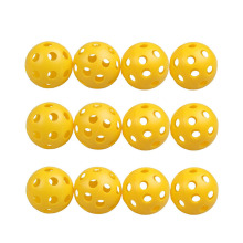 12Pcs Plastic Whiffle Airflow Hollow Golf Practice Training Balls Sports Golf Training Balls Practice Ball Yellow