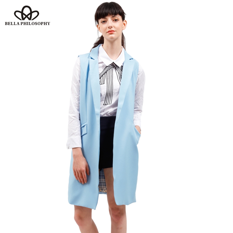 2017 spring new fashion long pockets turn-down collar open stitch sleeveless pantone blue pink beige black blazer vest jackets(China (Mainland))