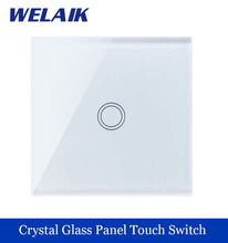 WELAIK brand New Crystal Glass Panel Switch  Wall Switch EU Touch Switch Screen Wall Light Switch 1gang1way  LED lamp A1911XW/B