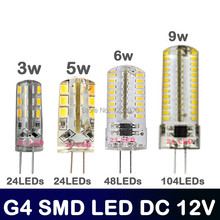 New led g4 lamp Hight power g4 DC12V 3W/5W/6W/9W 3014 2835 LED Crystal Lamps Silicone Candle Replace 20W - 50W halogen lamp(China)