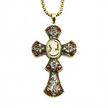 Vintage Big Cross Pendant Necklaces & Pendants Vintage Cameo Silver Chain Jewelry for Women Accesories jesus piece nke-f73