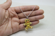 wholesale 12pcs/lot  Gingerbread Man Men Hand Made Christmas Cookie Christmas 3D Polymer clay Cookie charm necklace