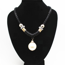 Simulated Big Pearl Bead Necklace Antique Statement Necklace Pendant Necklace Chain Jewelry Gifts For Women