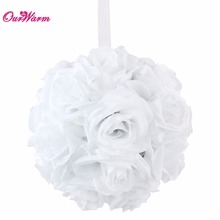 18cm/7inch Wedding Hanging Flower Balls Romantic Artificial Roses Silk Flowers Kissing Ball for Wedding Decoration 5Colors 1PCS(China)