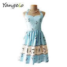 Free Shipping 2015 newest fashion women sexy backless summer dress sleeves sweet music note print party Cute vintage Woman dress