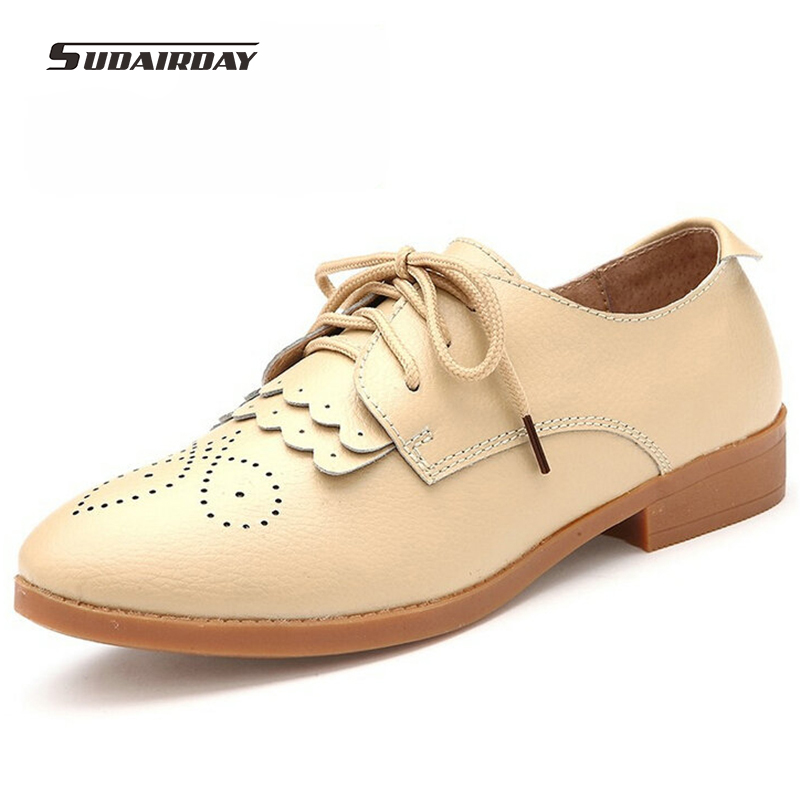 2016 Women Genuine Leather Oxford Shoes Woman Spring/Autumn Flat Shoes Womens Driving Shoes Flats zapatos mujer chaussure homme<br>