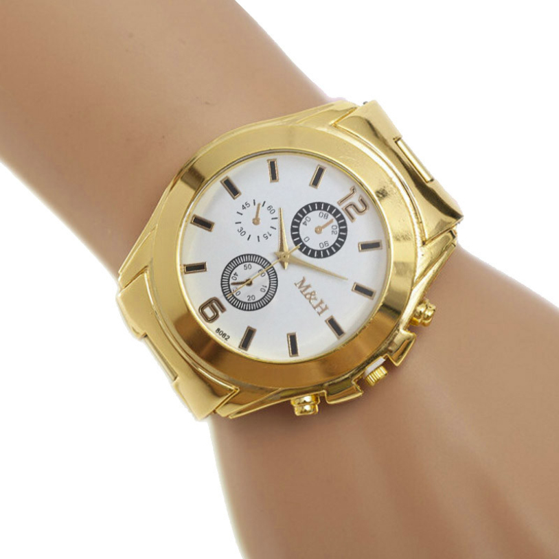Hot Selling Stainless Steel Sport Quartz Wrist Hour Gold Bracelet Big Dial Watch Gift 1pcs Dec 9<br><br>Aliexpress
