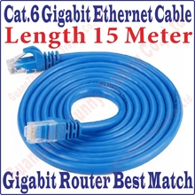 New 45FT 15M CAT6 CAT 6 Round UTP Ethernet Network Cable RJ45 Patch LAN Cord 1000M Gigabit ethernet cable, Free&Shipping