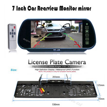 "HD 7"" LCD car Mirror Monitor parking DVD/VCD/GPS/TV Screen + Car Europe License Plate Frame Rearview Camera W/4 LED Night Vision"