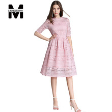 Merderheow New Europe 2017 Summer Women's Lace Hollow Out Long Dresses Femme Casual Slim Clothing Women Sexy Party Dresses L09