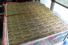 chinese traditional silk brocade fabric black back with gold&red Wave pattern
